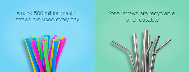 Stainless steel or metal straw and plastic straw